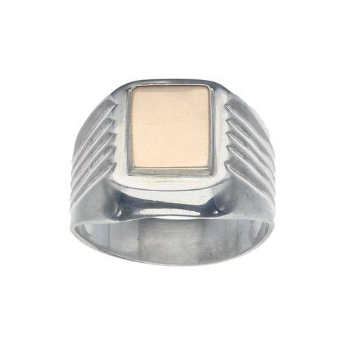 33c5245d8519 Anillo Plata Piedra Solitaria Color Amatista. Anillo Sello Cuadrado de Oro